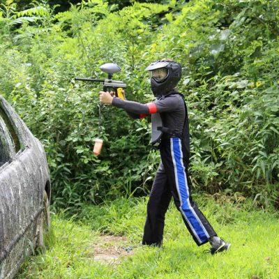 boy playing low impact paintball