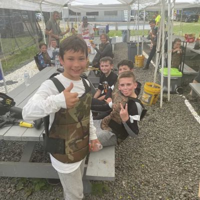 young boys at low impact paintball party