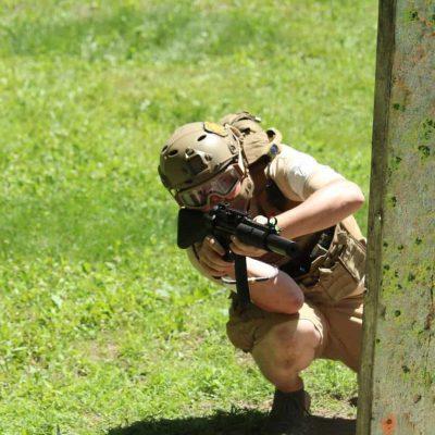 crouching airsoft player